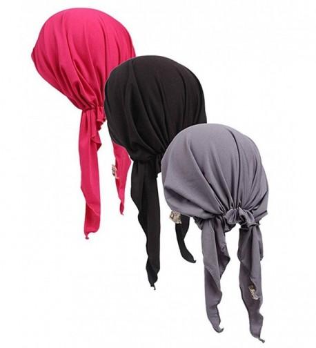 Womens Ruffle Beanie Turban Headwear - Black-grey-r - C71834GO9M2