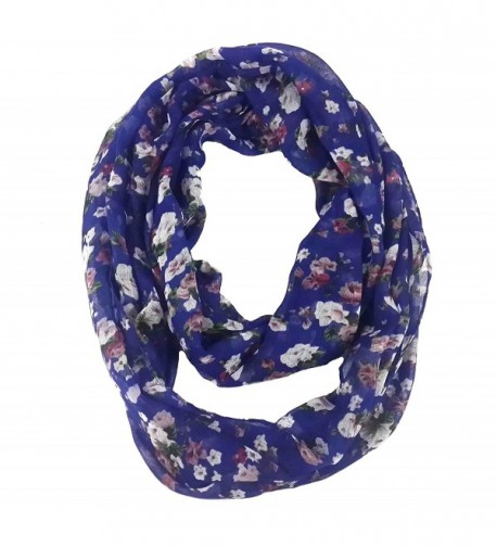 Lina & Lily Women's Floral Print Lightweight Spring Autumn Infinity Loop Scarf - Navy Blue - CG11P76QHSN