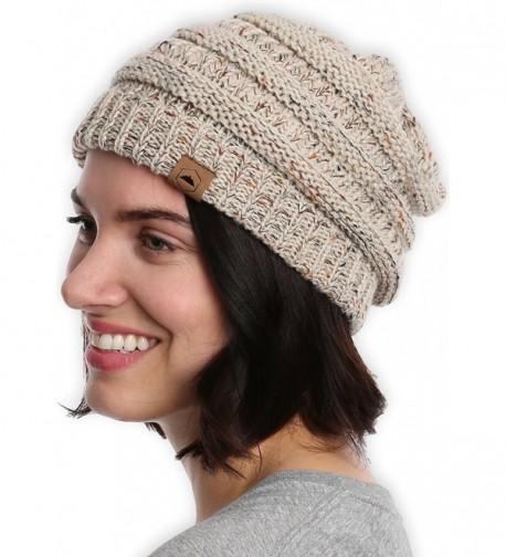 Cable Knit Beanie Tough Headwear - Off White Confetti - CB184ALMRX7