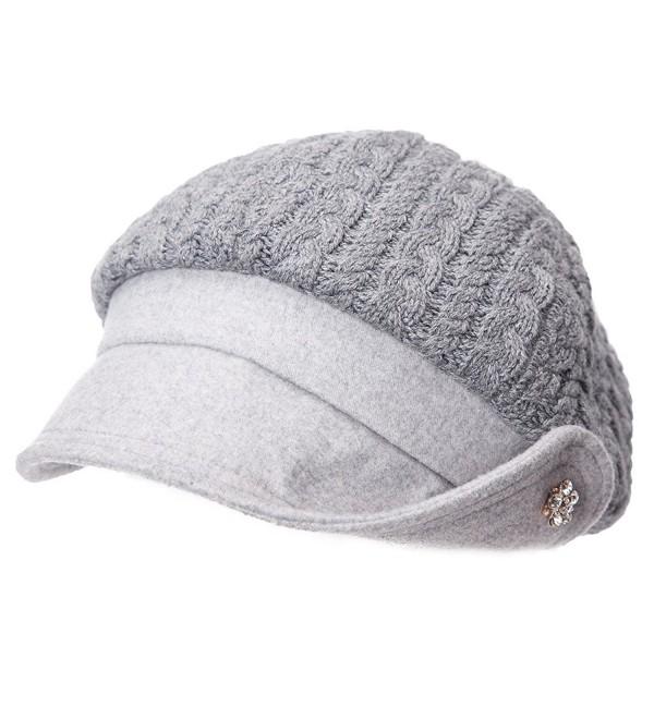 SIGGI 50%/100% Wool newsboy Cap Winter Hat Visor Beret Cold Weather Knitted - 89110_grey - CK187K003GW