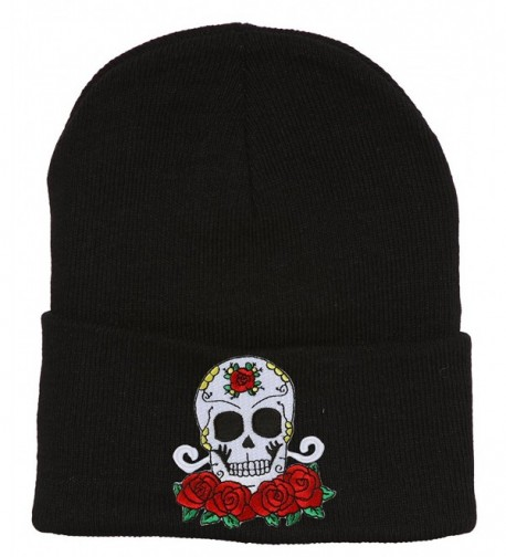 Candy Skull and Roses Black Cuffed Beanie - C8127BR3B2P