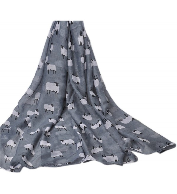 Bettyhome Lovely Cartoon Sheep Print Women's Scarf Shawl Lightweight 70.87 inch x 35.43 inch Diff Color - Gray - CE12OI1T7I2