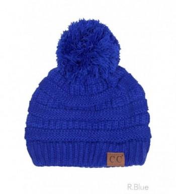 ScarvesMe Exclusive CC Knitted Beanie with Knit Pom Pom - Royal Blue - C312K58NA45