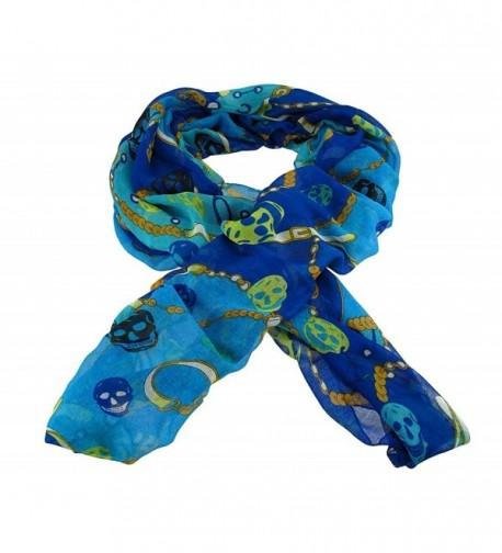 Lightweight Gauze Skull and Chain Print Fashion Scarf - Blue - C211B4LZDT9