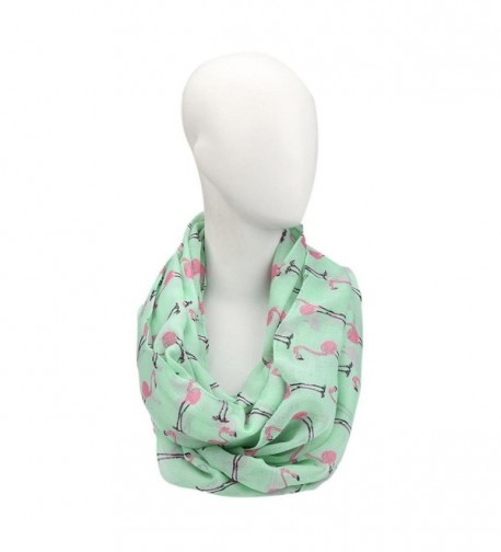 TAORE Premium Soft Multicolor Flamingos Pattern Print Infinity Scarf - Green - CL12LAV18Y5