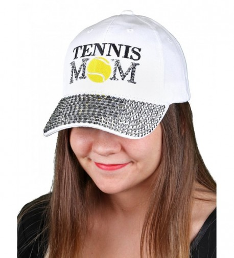 5cbe1dc1387c6 Funky Junque s Women s Silver Rhinestone Bill Sports Mom Bling Baseball Cap  Hat - Tennis White -