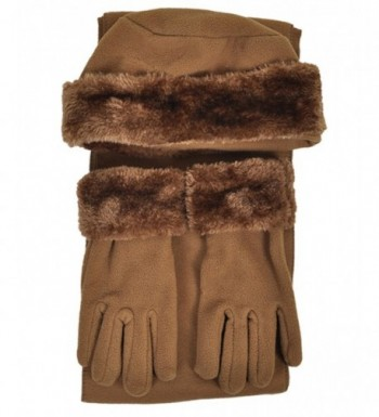 Cloche Fur Trim 3 Piece Fleece Hat- Scarf & Glove Women's Winter Set - Light Brown - CZ11GSJJGVN