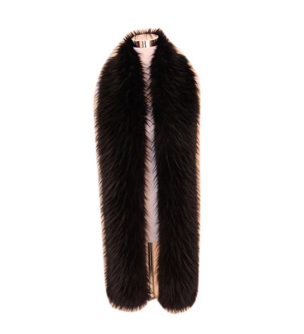 "Men Women's Winter Faux Fake Fur Collar Scarf Wrap Shawl Shrug 70"" - Black - C217YXGOR90"