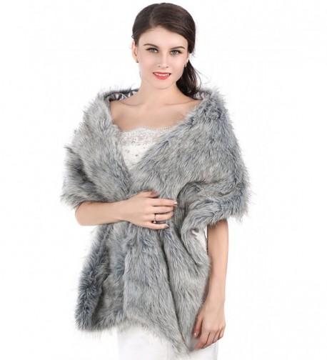 Jovono Women's Wedding Bridal Fur Shawl Wrap for Women and girls - Gray - CN186O9UKXI