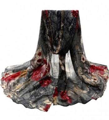Winhurn Beautiful Fashion Voile Flower - Black - CQ12MMPVGT1