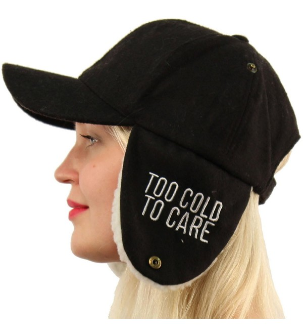 SK Hat shop Too Cold To Care Ear Cover Ear flaps Warmers Visor Baseball Ball Cap Hat - Black - CN188IAMKU8