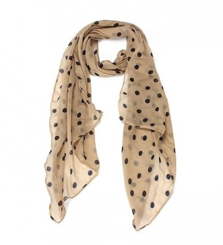 Qingfan Lightweight Scarves: Fashion Stylish Soft Silk Chiffon Scarf Wrap Polka Dot Shawl For Women Girls - Beige - C4185QUOIXH