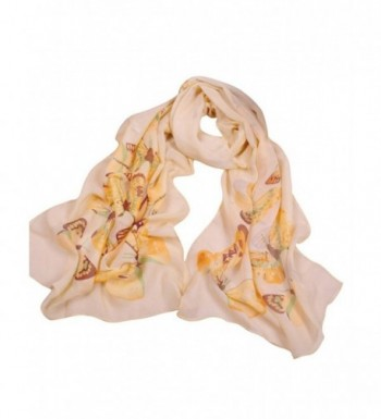 Bestgift womens Fashion Butterfly Pattern Scarf in Elegant Colors - Yellow - C712CCY3RRL