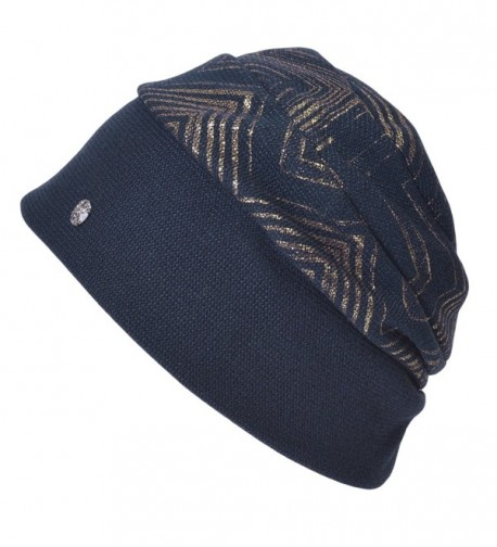 Casualbox Charm Womens Winter Beanie Hat Gold Classy Elegant Ladies Emblem Lady Fashion - Navy - CO12MFZV1MF