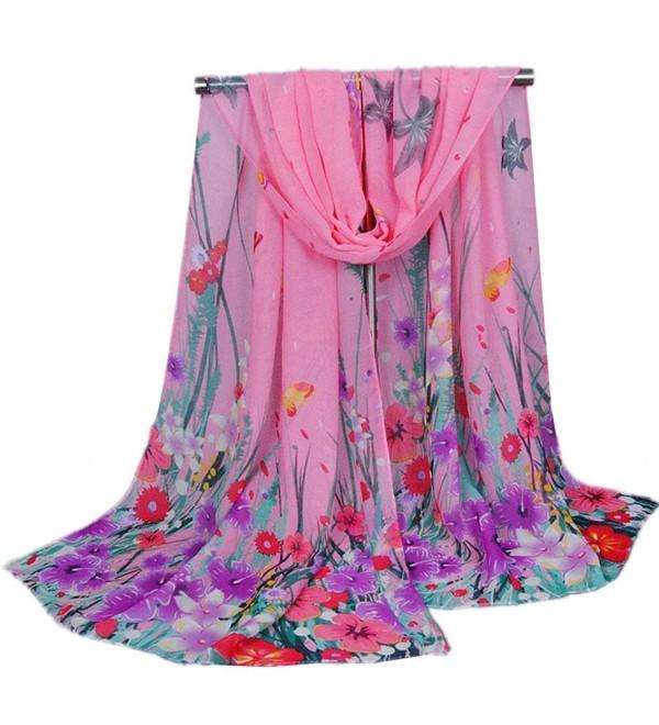 Creazy Women's Ladies Chiffon Soft Scarves Long Wraps Shawl Beach Silk Scarf - Pink - C112HQMERNR