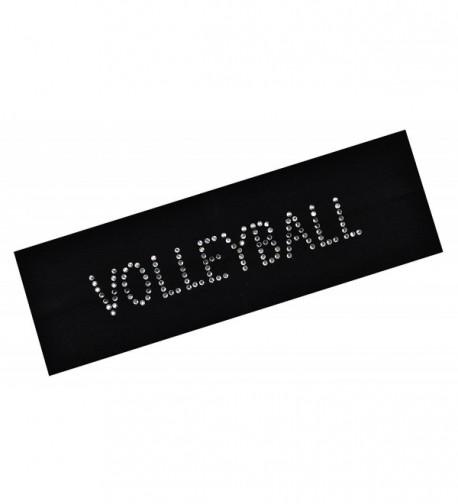 VOLLEYBALL Rhinestone Cotton Stretch Headband - Black - CR11CQW9337