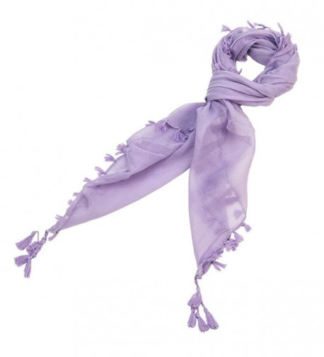 Solid Color Scarf with Tassels - Purple - CS11MOHKND3
