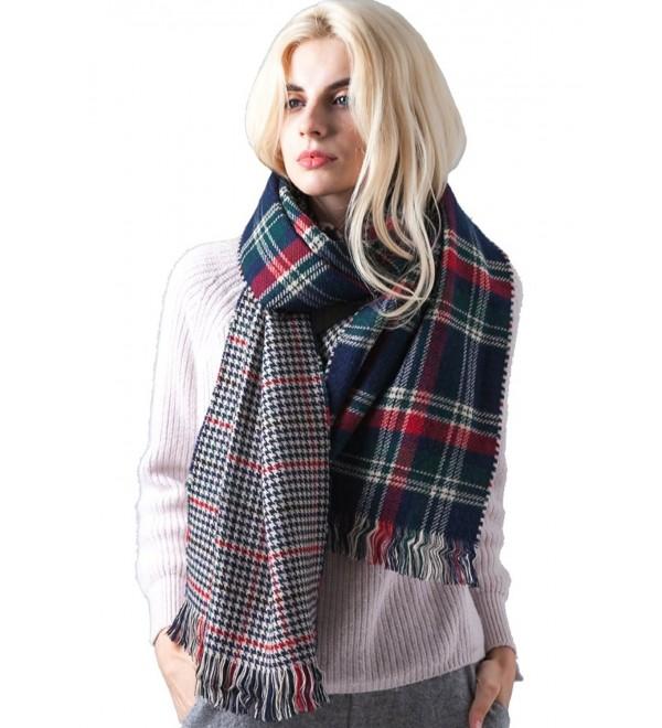 f5f42fff801 Fashion Unisex Winter Tartan Blanket Scarf Oversized Shawl 37 Dark  Blue&green CF188XZMU7X