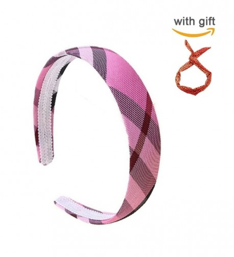 Fashion Plaid Wide Headband women Girl Fashion solid Hair accessories - Pink - CQ1850OLENO