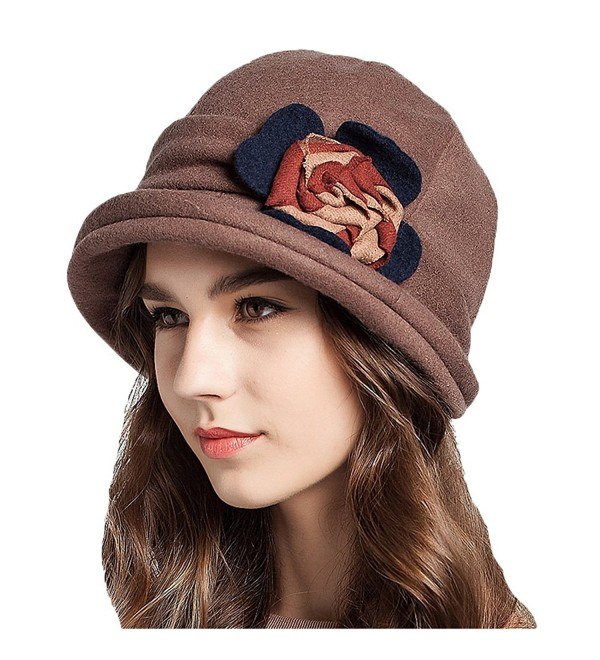 d9d8fd84f Women's Decorative Flowers Wool Bucket Hat Tan CE1293F32Q3