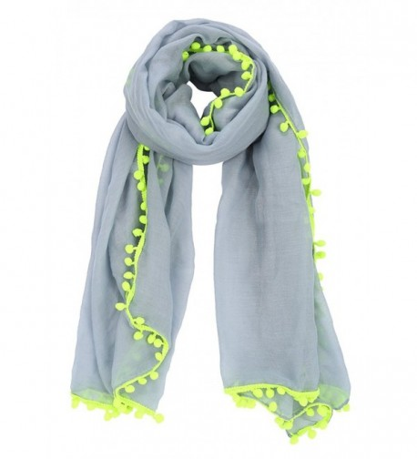 MissShorthair Womens Lightweight Long Scarfs with Pom Poms Tassles - 12 Grey - CT17YSZ6GZM