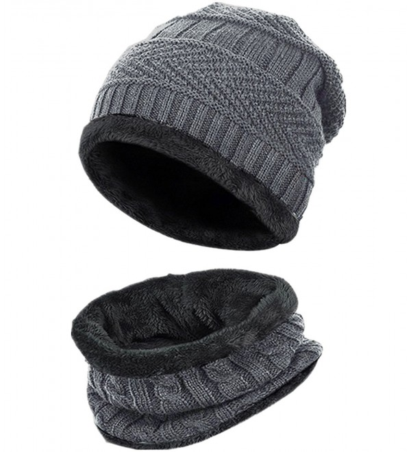 Loritta Men Beanie Hat Scarf Set Winter Warm Knit Hat and Infinity Scarf Gift Set - Hat and Scarf -Gray - CV184X8ALWN