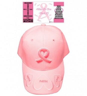 Pink Ribbon Cap Breast Cancer Awareness Hat Embroidered Womens Faith Hope Love - CA12N45JBW7