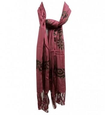 Cotton Scarf Indian Fashion Wear Summer Scarves Bandana Rectangle 62 X 27 Inches - Mauve - CF11O6MMODB