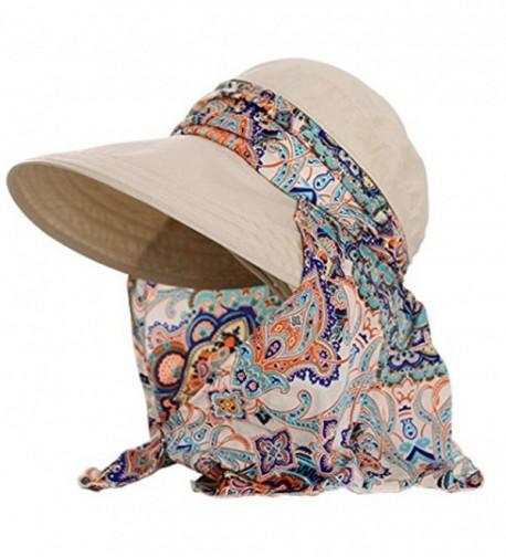 JOYEBUY Women Lady Visor Hats Wide Brim Cap UV Protection Summer Sun Hats - Beige - CI189W2O88T