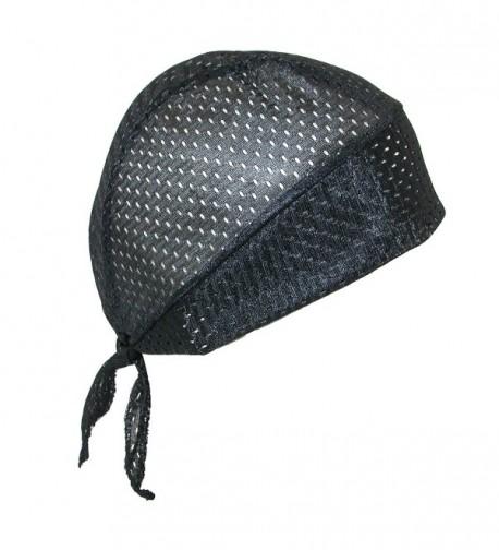 CTM Men's Athletic Sport Cool Mesh Do RAG Skull Cap (Pack Of 2) - Black - C21874T7GKS