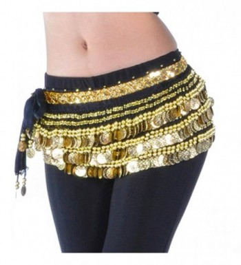 Pilot-trade Lady's Belly Dance Hip Scarf Wrap Belly Dancing Skirt Gold Coins - Black - C311U8NZ3HV