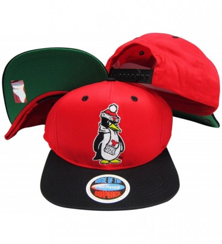 Youngstown State Penguins Red/Black Two Tone Plastic Snapback Adjustable Plastic Snap Back Hat / Cap - CE116A59JBV