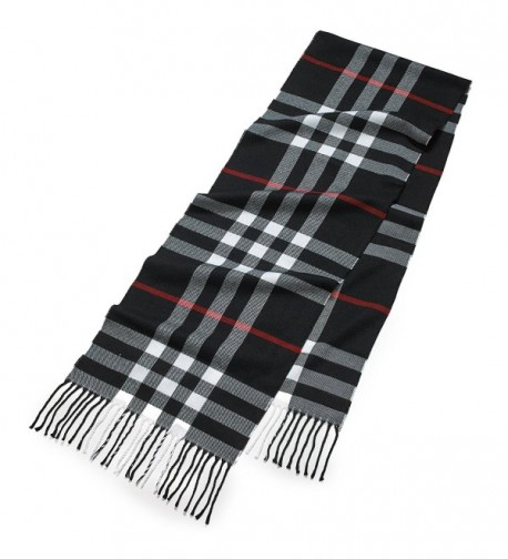 Cashmere Feel Weather Elegant Clara Clark - Black/White Plaid With Red Accent - C2185O763NI
