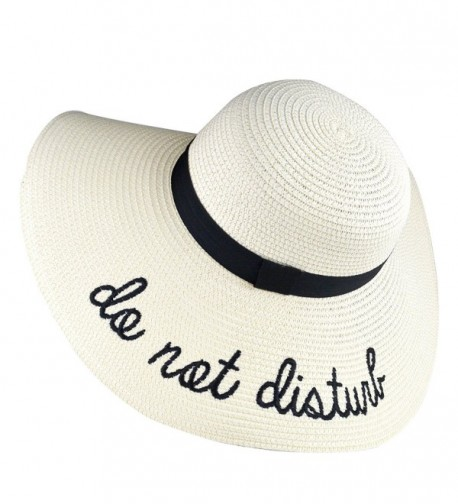 DRESHOW Floppy Sun Hat For Women Large Brim Straw Beach Hats With Saying Roll up Packable UPF 50+ - Ivory - CM1807O7XZC