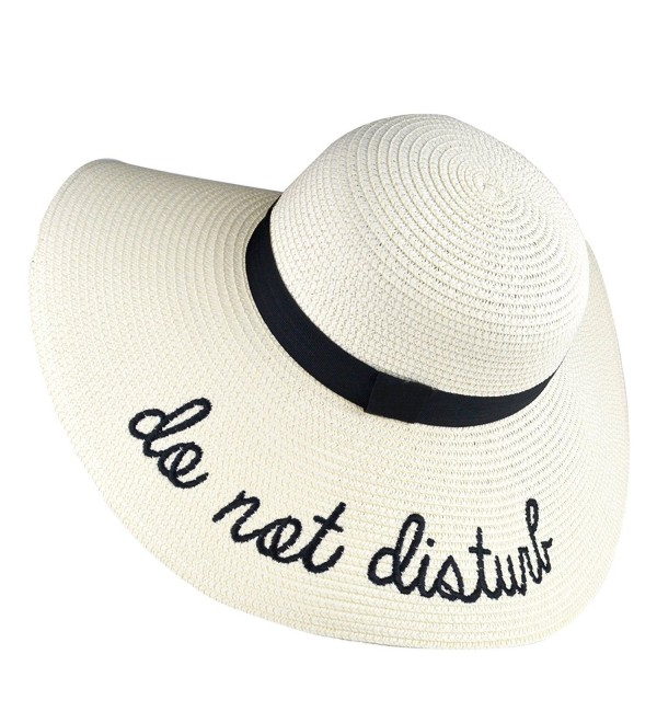 7bb0667503623b DRESHOW Floppy Sun Hat For Women Large Brim Straw Beach Hats With Saying  Roll up Packable