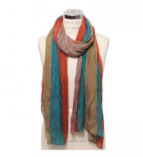 Scarfand's Light Weight Rainbow Color Chiffon Scarf - Rainbow Teal-brown - CV11M3P80X1