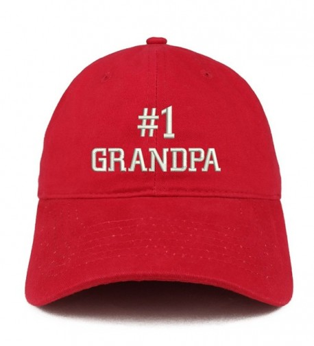Trendy Apparel Shop Number 1 Grandpa Embroidered Low Profile Soft Cotton Baseball Cap - Red - C0184UUSELR