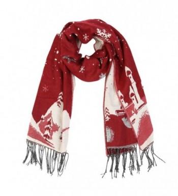 Christmas Reversible Oversized Thickened Pashmina - Purplish Red - CM187Z00YCX
