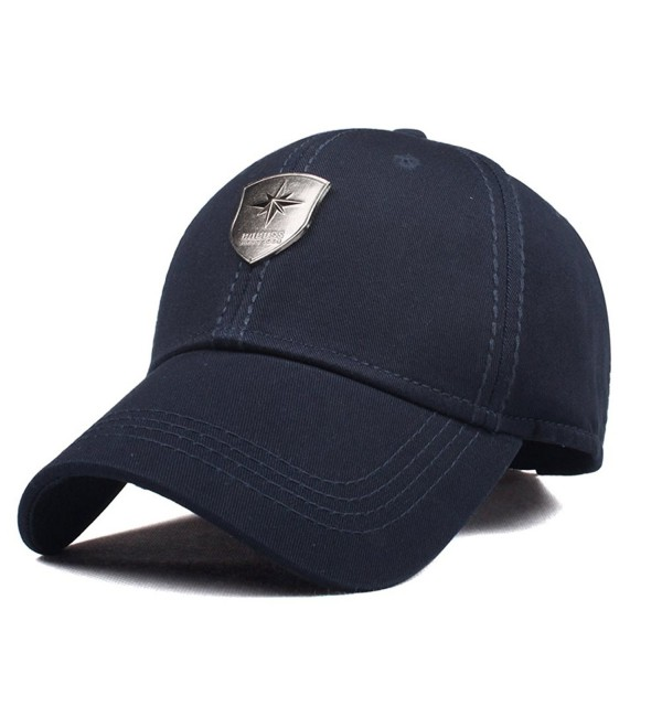 new style ccc2c b0363 CACUSS Men s Sailing Style Cotton Structured Baseball Cap Adjustable Buckle  Closure Sports Golf Hat - B0083 navy