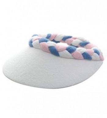 Ladies Terry Cloth Visor - Pink White Blue - C0114F2QYEH