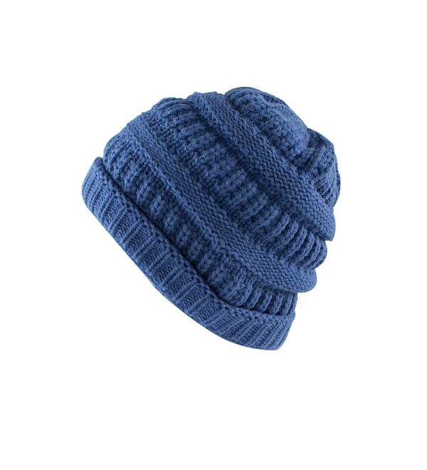 Super Z Outlet Knit Low Slouch Thermal Beanie For Ski- Cycling- Protection - Blue - CL12MPSDVH5