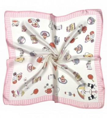 Pink White Teacup Printed Fine Small Square Silk Scarf - CD12O3Y6N7F