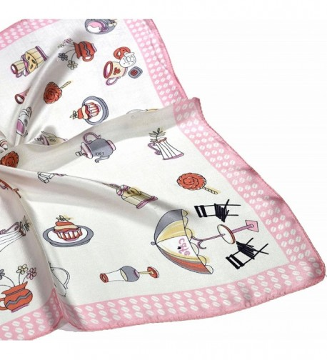 White Teacup Printed Small Square in Fashion Scarves