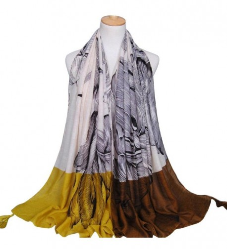 Rumas Fashion Women Printing Tassels Long Soft Wrap Shawl Cotton Scarf Scarves - Yellow - C612MNU42HD