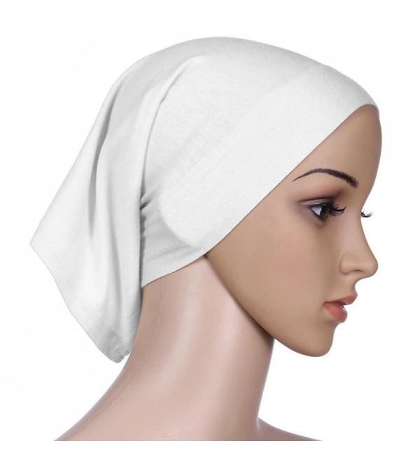 tallahassee Women's Cotton Islamic Muslim Underscarf Hijab Headwrap Bonnet - White - CX12J2D09BR