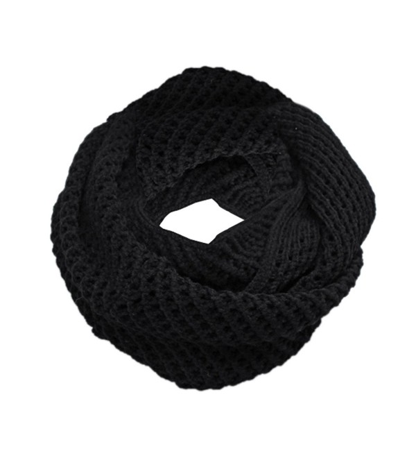 Unisex Hollow Out Knitted Circle Scarf - Black - C111DO510ZJ