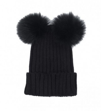 Opromo Women's Winter Chunky Knit Beanie Hat With Double Faux Fur Pom Pom Ears - Black - C2185XSGAHT