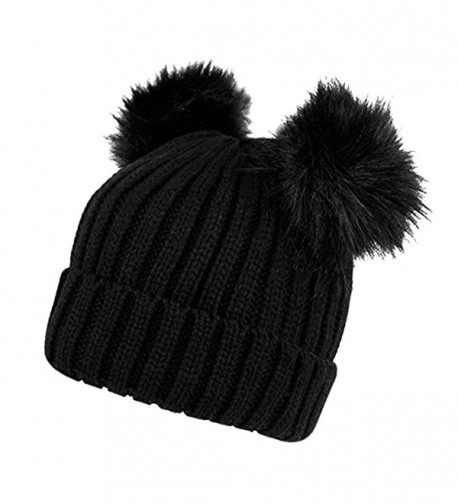 Opromo Womens Winter Chunky Ears Black in Women's Skullies & Beanies