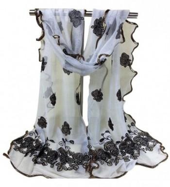 CreazyWomen Vintage Scarf Lace Gauze Rose Flower Veil Scarves Shawl Wrap - White - CC12J2G1P5N
