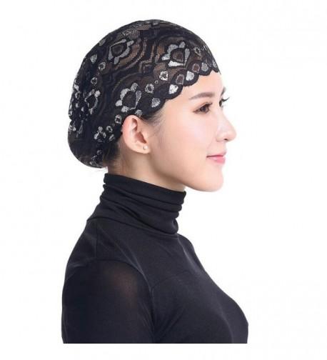 Qingfan Women Muslim Hijab Ruffle Cancer Chemo Elegant Lace Hat Beanie Scarf Turban Head Wrap Cap - Black - C6186OMRY8Y